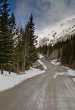 Mountain path and snow Stock Photo