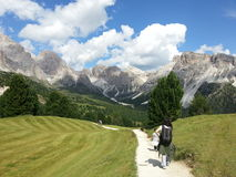Mountain path under the Odle group Stock Images
