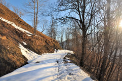 Mountain path in winter Stock Photo