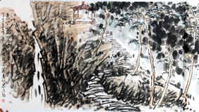 Mountain and pavilion. Interesting works of Chinese painting Royalty Free Stock Image