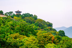 Mountain and pavillon observatory in Cheongpung Cultural Heritage Complex, Korea Stock Photo