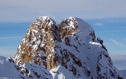 Mountain peak. Somewhere in French Alps near Courshevel, France Royalty Free Stock Image