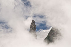 Mountain Peak. The Gods Finger Rock at Serra dos Orgãos National Park, an excellent example of an igneous rocks, created when molten rock cools and solidifies Stock Images