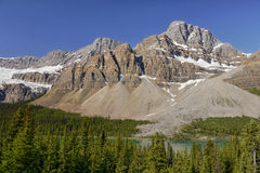 Mountain Peak above the lake. Glacier Peak mountain above the lake in the Canadian Rocky Mountains. Banff National Park, Alberta Royalty Free Stock Images
