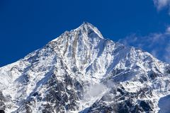 Mountain peak, Annapurna region, Nepal. Sunrise in the mountains. Beautiful landscape in Himalayas Stock Image