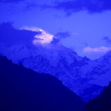 Mountain peak in the Annapurna ridge at sunset, Stock Photo