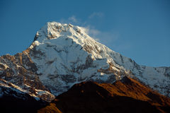 Mountain Peak Annapurna South At Sunrise In Himalayas Nepal Stock Photos