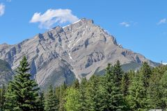 Mountain Peak and Blue Sky in Banff Stock Image