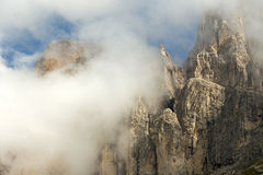 Mountain peak in the clouds. View of a mountain peak through clouds Royalty Free Stock Photography