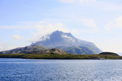Mountain peak. At the coast in Norway Royalty Free Stock Photography