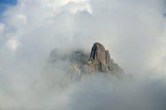 Mountain peak du Midi DOssau among the clouds Stock Photography