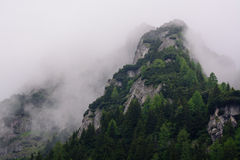 Mountain peak in fog Stock Photography