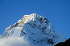 Mountain peak with glacier and snow stock photo