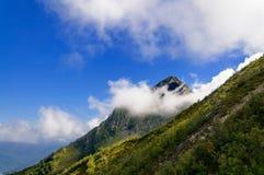 Mountain peak hidden cloud. Stock Photos