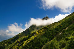 Mountain peak hidden cloud. Royalty Free Stock Photo