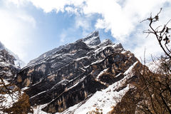 Mountain peak of the Himalayan range on the way to Annapurna Base Camp, Nepal Stock Photography