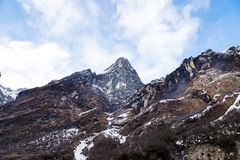 Mountain peak of the Himalayan range on the way to Annapurna Base Camp, Nepal Royalty Free Stock Photo