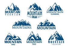Mountain peak icon for outdoor adventure design. Mountain tourism and rock climbing icon set. Mountain top blue silhouette with snowy peak, steep rocky hill and vector illustration