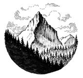 Mountain peak. Ink black and white illustration of a mountain peak and forest Royalty Free Stock Image