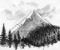 Mountain peak. Ink black and white illustration of a mountain peak and woods Stock Photo