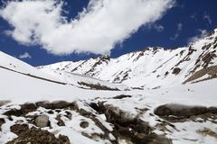 Mountain peak at the Khardung Pass, Ladakh, India. Mountain peak at the Khardung Pass in Ladakh, India. The Khardung Pass is the higest vehicle accessible pass Royalty Free Stock Images