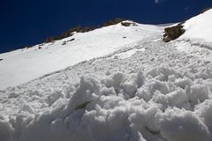 Mountain peak at the Khardung Pass, Ladakh, India. Mountain peak at the Khardung Pass in Ladakh, India. The Khardung Pass is the higest vehicle accessible pass Royalty Free Stock Photo