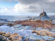 Mountain peak and landscape aerial sea view from Linesfjellet summit in Norway. Islands scandinavian nature. Spring hike trail Stock Images