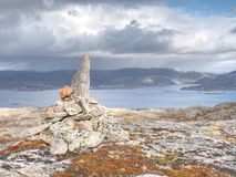 Mountain peak and landscape aerial sea view from Linesfjellet summit in Norway. Islands scandinavian nature. Spring hike trail Royalty Free Stock Photography