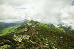Mountain peak landscape with clouds Royalty Free Stock Photography