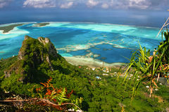 The mountain peak, Maupiti. View from the mountain peak, Maupiti, French Polynesia, Society Islands Stock Images