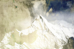 Mountain peak in monotone. With snow cover, there is clouds in background Royalty Free Stock Photos