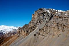 Mountain peak n Thorong La pass. One of the peaks on Thorong La mountain pass, morning view. Annapurna Circuit Treck, Himalayas, Nepal Stock Image