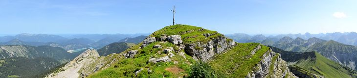 Mountain Peak near Bad Toelz, Germany. Panoramic view of beautiful landscape from the mountain peak near Bad Toelz, Germany Stock Images
