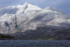 Mountain peak near cape Horn. Snow topped mountain peak in southern Patagonia, in the ocean near cape Horn stock photography