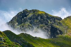 Mountain peak over the cliff and clouds. Beautiful summer scenery of Fagaras mountains Stock Photography