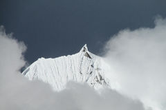 Mountain peak in rainy and cloudy weather stock photography