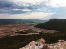 Mountain peak range landscape. Green mountain range view. stock image