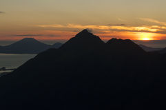 Mountain peak silhouette stock image