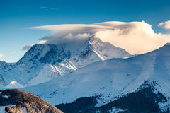 Mountain Peak and Ski Slope near Megeve in French Alps Royalty Free Stock Images