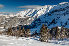 Mountain Peak and Ski Slope near Megeve in French Alps Stock Photography