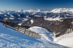 Mountain Peak and Ski Slope near Megeve in French Alps Stock Images