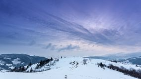 Mountain peak with snow blow by wind. Winter landscape. Cold day, with snow. stock video footage