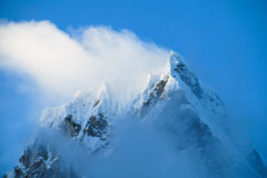 Mountain peak with snow and ice. Snow and glaciar in the high mountains of Huascaran, Peru Stock Photo