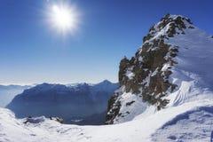 Mountain peak and snow panorama in San Domenico di Varzo, Piedmont, Italy stock photography