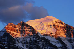 Mountain peak at sunset royalty free stock photos
