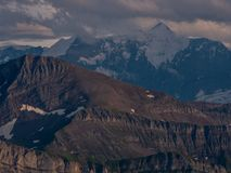 Mountain peak during sunset golden hour the swiss alps, brienzer rothorn. Mountain peak during sunset in golden hour the swiss alps, brienzer rothorn stock images