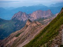 Mountain peak during sunset golden hour the swiss alps, brienzer rothorn. Mountain peak during sunset in golden hour the swiss alps, brienzer rothorn stock image