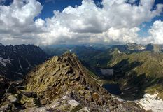 Mountain peak and two lakes Stock Images