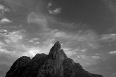 Mountain peak under the sunlight. Beautiful landscape. Picture in black and white royalty free stock photography