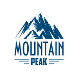 Mountain peak vector isolated icon or emblem. Mountains icon. Vector emblem with mountain peak symbol. Alpine mount or rock hill snowy peaks isolated badge for Royalty Free Stock Image